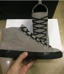 Wholesale Lambskin Leather Shoes - 2017 new wholesale Buy Wrinkled Lambskin Pairs Arena Luxury High top Style Outwear Mens sneakers Comfort and Durable Rubber Sole Shoes 36-4