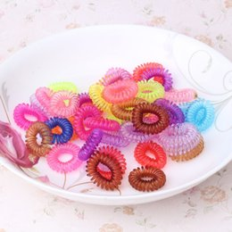 Wholesale Telephone Cord Hair Tie - Wholesale- 12Pcs  Lot Telephone Wire Line Cord Traceless Tie Hair Ring Gum Colored Elastic Hair Band For Girl Hair Accessories Scrunchy