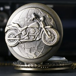 Wholesale Quartz Watches Retro - Wholesale- Retro Bronze Motorcycle Harley Motorbike MOTO Quartz Pocket Watch Necklace Pendant Mens Gift