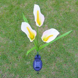 Wholesale Floor Lighting Lamps - Outdoor Solar Christmas Lights Fake Flower Light Lamp Calla Shape For Outdoor Yard Lawns Balcony Path Party Decoration Three Headed