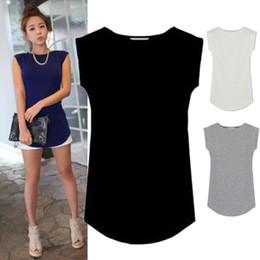 plain tee shirts großhandel Rabatt Großhandels-Frauen 2015 Junior Basic Plain Lässige Modal Flügelärmeln Schlank O-Neck T-Shirt Tops