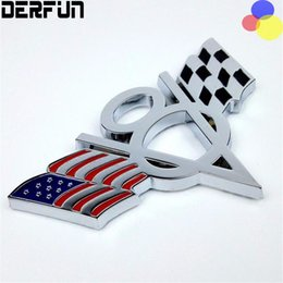 Wholesale Ford Badge Wholesale - Fit for Dodge Ford Chevrolet Jeep 3D Metal US USA America Flag V8 Emblem Styling Sticker Universal Badge Decal