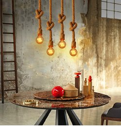 Wholesale Rope Master - Retro Vintage Rope Pendant Light Lamp Loft Creative Personality Industrial Lamp Edison Bulb American Style For Living Room