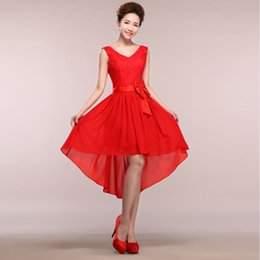Wholesale Sexy Greek Prom Dresses - red v neck lace up back short front long back greek prom dresses cheap high low elegant chiffon prom dresses 2017 H1360