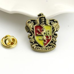 Wholesale Enamel Pin Badges - Wholesale- 5 Design Vintage hp Hogwarts School Badge Enamel Brooch Pins Broches Jewelry Fashion Women And Men Brooches Wholesale