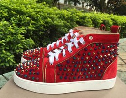 Wholesale Sharp Media - drop shipping new casual Sharp Spikes High Top Red Bottom Fashion Sneakers,Lover Shoes Unisex Luxury Spring And Autumn Shoes Shoes 36-47