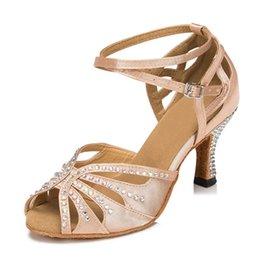 Wholesale Satin Crystal Shoes - skin Ladies Flesh Satin Crystal Rhinestone Salsa Ballroom Dancing Shoes Latin Dance Shoes Mambo Dance Shoes