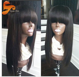 Wholesale Yaki Wigs Bangs - Italian Yaki Full Lace Wig Lace Front Wig With Baby Hair Brazilian Yaki Virgin Human Hair Wigs with bang For Black Women