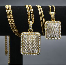 """Wholesale Gold Chain Link Costume Necklace - Men's Hip Hop Iced Out Gold Siver Plated Dog Tag Pendant Bling Bling 3mm 5mm 24"""" 27"""" Cuba Link Chain Necklace Fashion Costume Jewelry"""