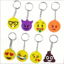 Wholesale White Spinel - Emoji Smiley Cute Cartoon PVC key rings pendant pods spreadout creative small gift car keychains Mix Color Free Shipping