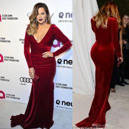 Wholesale Kardashian Plus Size - Oscar Khloe Kardashian Wine Red Velvet Plus Size Formal Evening Dresses 2017 Plunging Neckline Sheath Celebrity Party Gowns Red Carpet Dress