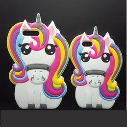 Wholesale Cell Phone Couples - Free Shipping3D Unicorn Silicon case Iphone 6 7 Fancy Cartoon Couple models Silicone Cell Phone Cases Wonderful Characters Phone Back Cover