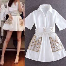 Wholesale Embroidery Mini Dress Design - New women's design fashion spring summer turn down collar white shirt dress with belt slim waist embroidery floral a-line dress