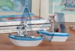 Wholesale Wood Ornament Craft - Wholesale- Mini sailing boat model Vogue Nautical home Decoration Cloth Sailboat Model Flag Table Ornament wood crafts toy for kids WYQ