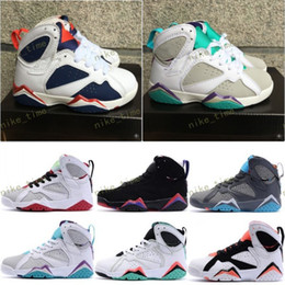 Wholesale Kids Girls Boots - Authentic Children Kids Cheap Kids New Retro 7 Basketball Shoes Cheap Retro 7S VII Boots 100% Original child boy and girl trainer Sneakers
