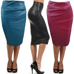 Wholesale Plus Size Leather Pencil Skirt - Hot Sale Women Soft PU Leather Skirt High Waist Slim Over Hip Pencil Skirt Vintage Bodycon OL Midi Skirt Sexy Clubwear Plus Size XA0280
