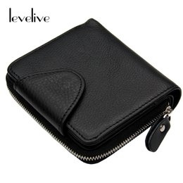 Wholesale Wallet Mens Nylon - Wholesale- LEVELIVE Mens Genuine Leather Hasp Zipper Wallets Men Real Cowhide Wallet Coin Pocket Card Holder Male Purse Carteira Masculina