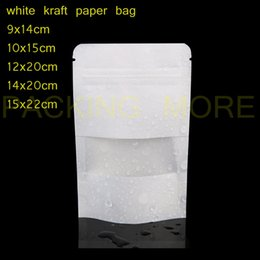 Wholesale Inside Doors - Wholesale- 50pcs lot free shipping white kraft paper bags stand up Zipper zip lock packaging bag with window PE inside kraft paper pouch