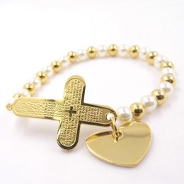 Wholesale Cross Religion - Wholesale-Gold Plated Bible Cross With Heart Charms Pendant Stainless Steel Rosary Beads Bracelets Religion Unisex Female pulseira Bangle