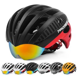Wholesale Mtb Helmets - Hot Sale PROMEND Cycling Goggles Helmet Ultralight Integrally-molded Bicycle Helmet 3 Lens MTB Bike Helmet 27 Vents 285g Casco Ciclismo