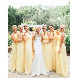 2017 amarillo claro de las damas de honor vestidos gasa imperio país largo dama de honor vestidos para bodas invitados por encargo precio barato desde fabricantes