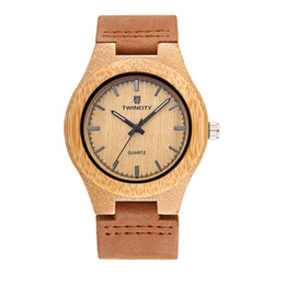 Wholesale Men Leather Watch Bands - TWINCITY wood watch Novel cool Bamboo Wooden Watch Men stylish Relogio Masculino Men's Watch Quartz leather band Wristwatch casual watches