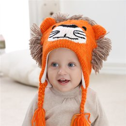Wholesale Toddler Hat Newborn Wool - Autumn Winter 2017 Toddler Knit Wool Caps Infant Baby Girls Knitted Cartoon Beanies Bebe Fashion Warm Hats Kids Accessories
