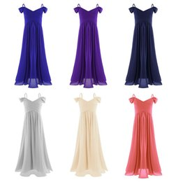 Wholesale Junior Dresses For Pageants - Girl First Communion Off-shoulder Pleated Dresses Infant Bow Tulle Pageant Junior Bridesmaid Dresses for Weddings and Formal Party