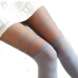 Wholesale Yellow Striped Tights - Wholesale- Heather Grey stripe Transparent splicing pantyhose women sexy lace stitching fake Tall thin bottoming tights women winter