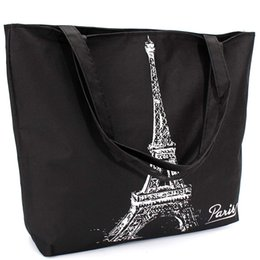 Wholesale Eiffel Shopping Bag - Wholesale-Fashion Women Canvas Handbags Girl Shopping Shoulder Bag Letter Paris Eiffel Tower Pattern Handbag Casual Tote Large Space Hot