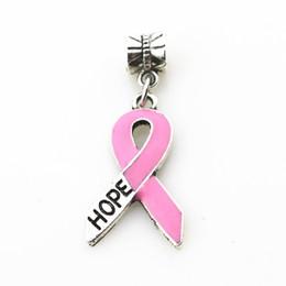 Wholesale Dangle Big Hole Charms - 20pcs lot Pink ribbon HOPE charms hanging charm big hole pendant bead charm fit European bracelet diy jewelry dangle charms