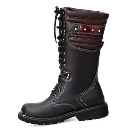 Wholesale Men Black Vintage Boots Leather - Men Motorcycle Boots Vintage Combat Boots With Pocket 2016 New Lace Up PU Leather Buckle Military Boots Men Shoes