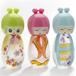 Wholesale Japanese Plastic Dolls - 20ml Cute Japanese Doll Atomizer Perfume Spray Bottle Scent Travel Vials Fragrance Favors 10pcs lot P132