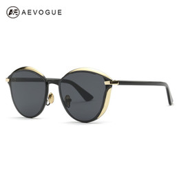 Wholesale Eye Glasses Temple - Wholesale-AEVOGUE Sunglasses Women Cat Eye Copper Frame Acetate Temple Luxury Brand Designer Sun Glasses UV400 With Box AE0456