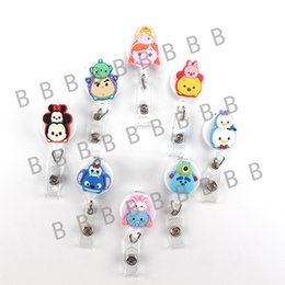 Wholesale 8pcs Kawaii Cute Cartoon Character Retractable Badge Reel Student Nurse Exihibiton ID Name Card Badge Holder Office