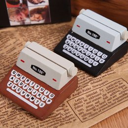Wholesale business memos - Message Clip Creative Wooden Typewriter Business Card Memo Pad Photo Holder Resin Material Home Decor 1 88zy F R