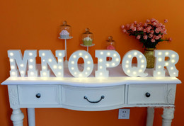 Wholesale White Marquees - Wholesale- 1pcs A-Z & White wooden letter LED Marquee Sign Alphabet LIGHT UP night light Indoor WALL Decoration Wedding Party Display Light