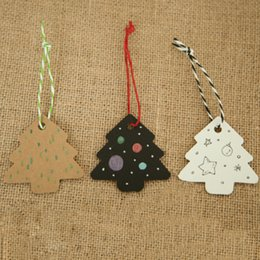 Wholesale Diy Paper Christmas Tree - 50pcs lot 5.5*5.4cm DIY Kraft Christmas Tree Shape Hang tag Christmas Party Deco Paper Cards Gift tag