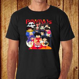 Wholesale T Anime Manga - Print T-Shirt Harajuku Short Sleeve Men Top New Ranma 1 2 90's Anime Manga Men's Black T-Shirt Size S-2XL Men'S T-Shirt Fashion