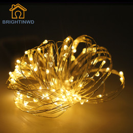 Wholesale Used Outdoor Christmas Decorations - Wholesale- Beautiful Garlands Copper Led String Lights 10M 100Led Battery operate waterproof Outdoor use decoration light fun life 7 colors