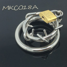 Wholesale Locking Metal Chastity - male chastity device metal stainless steel cock cage penis lock cook ring 018A