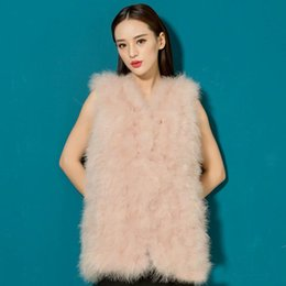 Wholesale Ostrich Vests - fast shipping Women Winter encryption 100% natural ostrich feathers turkey feather fur vest vest fur coat Fur Coat