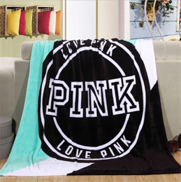Wholesale Coral Wholesale Blankets - Love Pink Letter Blanket Soft Coral Velvet Beach Towel Blankets Air Conditioning Nap Rug Carpet Throws on Sofa Bed Plane 130*150cm