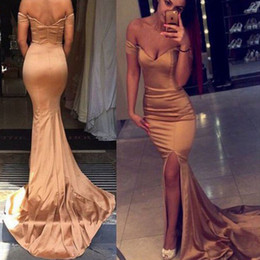Wholesale Inexpensive Coral Prom Dresses - Inexpensive Sexy Evening Dress Fitted Off the Shoulder Sweetheart Open Back Zipper up Evening Gown with Split Prom Party Dresses