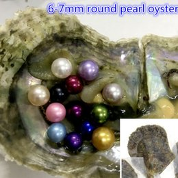 Wholesale Pearl Culture - 100 Pcs Saltwater Round Akoya Pearl Oyster 48 Colors Mixed Colors 6-7 mm Cultured Pearl Oyster Vacuum Packing TNT Free Shipping
