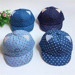Wholesale Korea Hip Hop - 2017 New Korea Cartoon Pattern Caps Baby Boy Girl Baseball Cap Flat Brim Kids Sun Hats Hip Hop Emoji Ear Pattern Hats