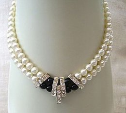 Wholesale Beautiful Culture - Beautiful! 2Rows 7-8mm Natural White Akoya Cultured Pearl & Back agate Necklace