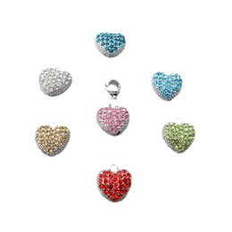 Wholesale Peach Heart Pendant - DIY bead heart peach hollow zinc alloy inlaid with drilling drops of oil hand chain pendant suits the European and European style wholesale