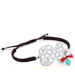 Wholesale Handmade Bear - New Fashion Stainless Steel bears charms macrame handmade Jewelry women gift bracelet adjustable size