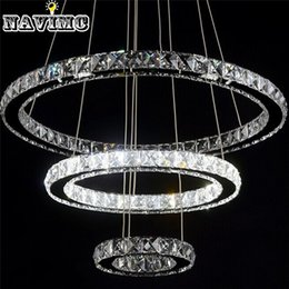 Wholesale Mounting For Diamond Pendant - Modern Led Crystal Chandelier Light Fixture for Living Room Dining Room Decorative Hanging Lamp Diamond 3 Rings Chandeliers